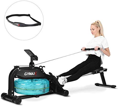 GOPLUS Water Rowing Machine, with Heart Rate ...